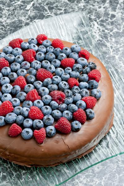 chocolate cake with raspberries and blueberries Stock photo © phbcz