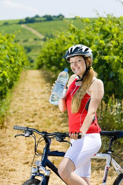 Garrafa água vinha República Checa mulher Foto stock © phbcz