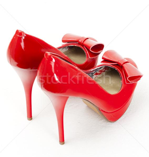fashionable platform red pumps Stock photo © phbcz