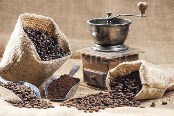 静物 コーヒー豆 袋 コーヒー グラインダー 袋 ストックフォト © phbcz