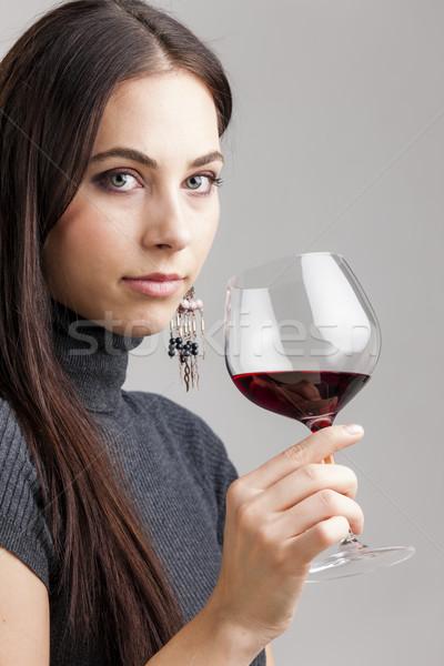 Ritratto vetro vino rosso donna giovani Foto d'archivio © phbcz