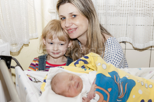 portrait of mother with her daughters in maternal hospital Stock photo © phbcz