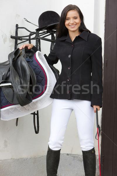equestrian with saddle Stock photo © phbcz