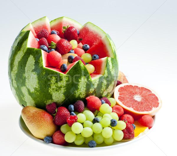 Gyümölcssaláta víz dinnye étel gyümölcs eper Stock fotó © phbcz