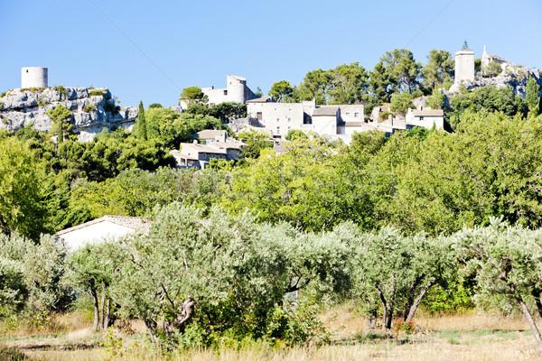 Frankrijk boom reizen architectuur dorp buitenshuis Stockfoto © phbcz
