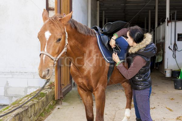 Lovas ló nők fiatal áll kint Stock fotó © phbcz