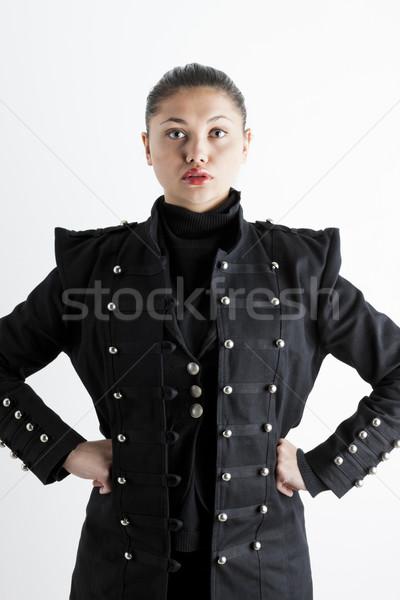 Portré fiatal nő visel extravagáns kabát Stock fotó © phbcz