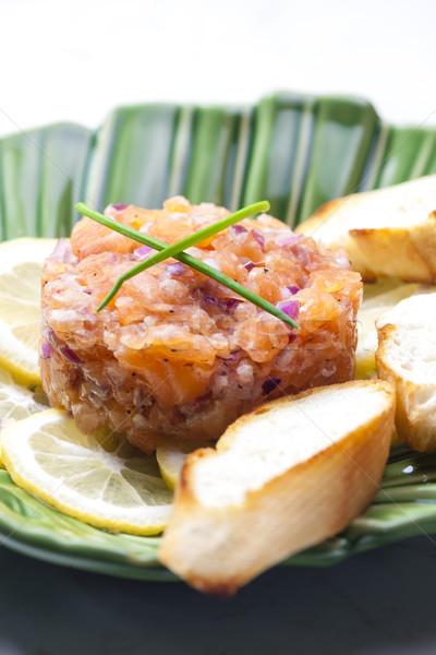 Lazac vöröshagyma tányér étel hagyma egészséges Stock fotó © phbcz