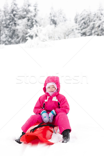 ストックフォト: 女の子 · 子 · 雪 · 子供 · 帽子 · 笑みを浮かべて