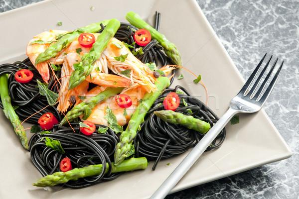 Sepia spaghetti asperges chili maaltijd Stockfoto © phbcz