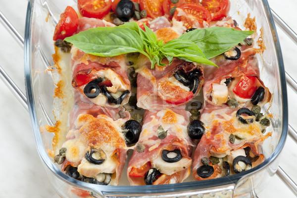 Presunto frango carne azeitonas pretas Foto stock © phbcz