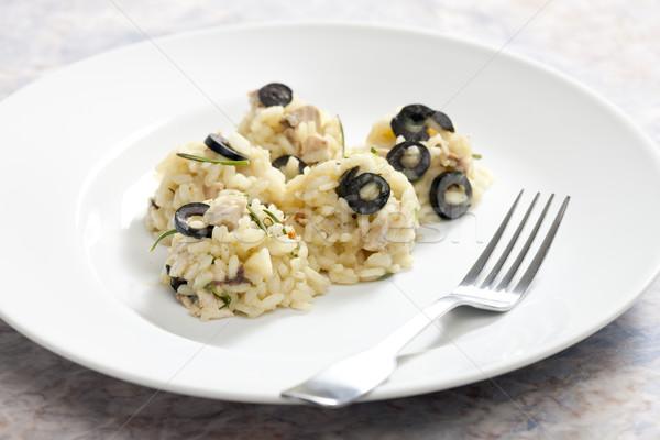 Pollo alimentare riso piatto olive piatti Foto d'archivio © phbcz