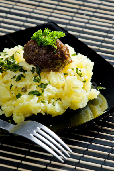 minced meat balls with mashed potatoes Stock photo © phbcz