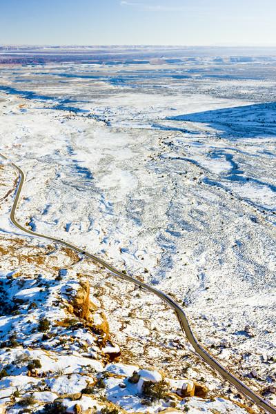 Weg Utah USA landschap sneeuw stilte Stockfoto © phbcz