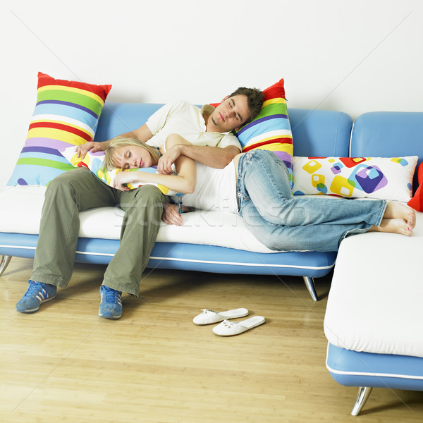 couple on sofa Stock photo © phbcz