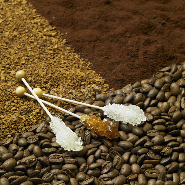 still life of coffee and candy sugar Stock photo © phbcz