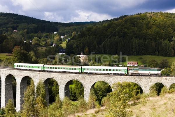 Vonat völgy cseh Csehország híd utazás Stock fotó © phbcz