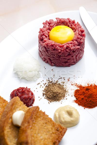 Lendenen biefstuk vlees toast maaltijd schotel Stockfoto © phbcz