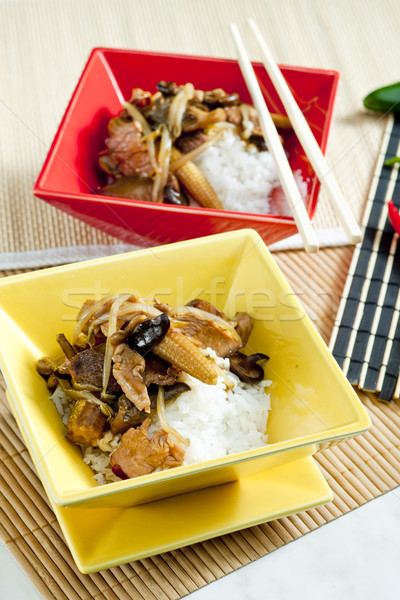 poultry meat with corn and shitake mushrooms Stock photo © phbcz