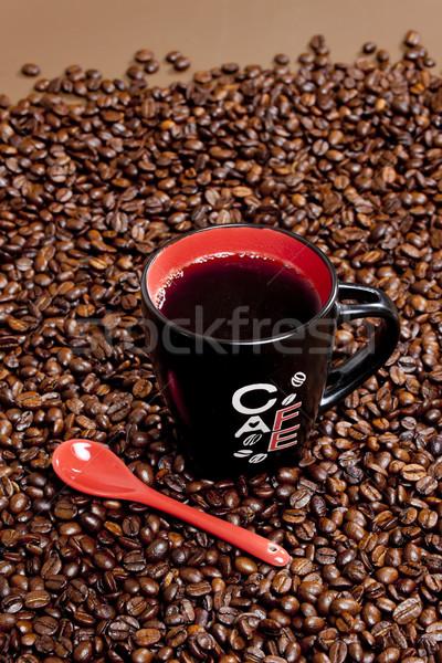 Csésze kávé kávé egy barna bent Stock fotó © phbcz