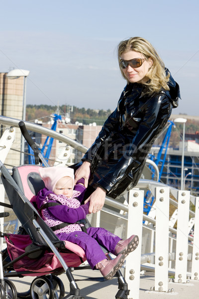 woman with toddler sitting in pram Stock photo © phbcz