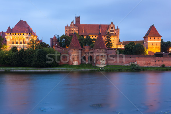 Noche Polonia edificio viaje oscuro arquitectura Foto stock © phbcz