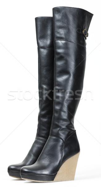 fashionable platform black boots Stock photo © phbcz