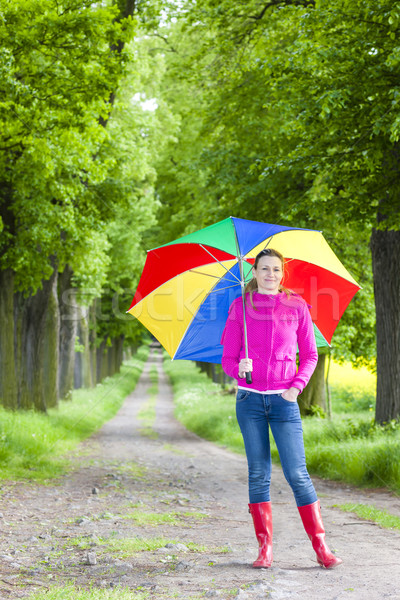 woman wearing rubber boots with umbrella in spring alley Stock photo © phbcz