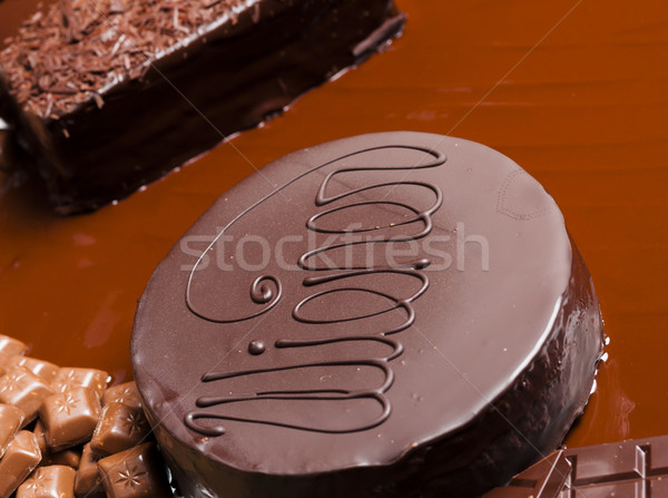 still life of chocolate with Wiener cake Stock photo © phbcz