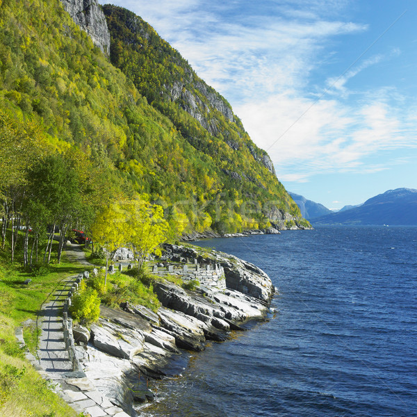 landscape by Haldanger fjord, Norway Stock photo © phbcz