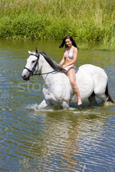 Paardrijden water vrouw paard bikini Stockfoto © phbcz