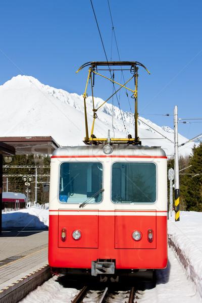 electric car at Strbske pleso station, Vysoke Tatry (High Tatras Stock photo © phbcz
