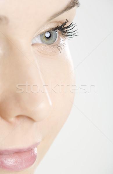 Foto stock: Pormenor · retrato · mulher · olhos · faces · jovem