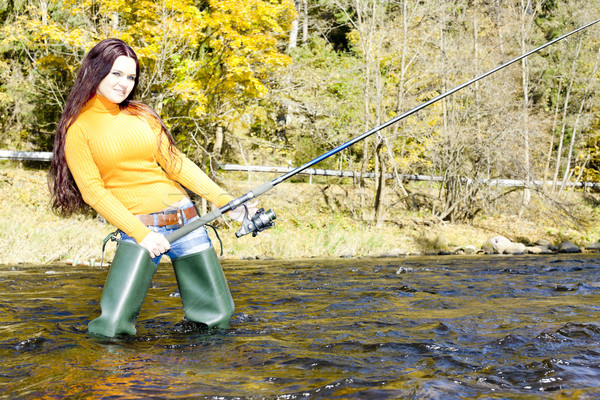 woman fishing in Otava river, Czech Republic Stock photo © phbcz