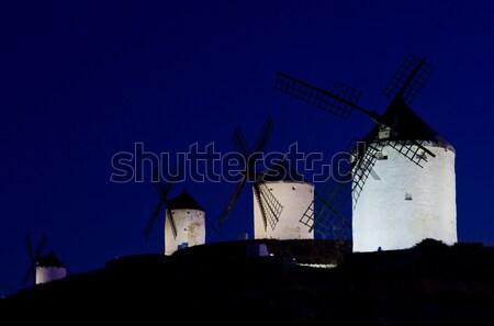 ночь Испания путешествия темно Европа Windmill Сток-фото © phbcz