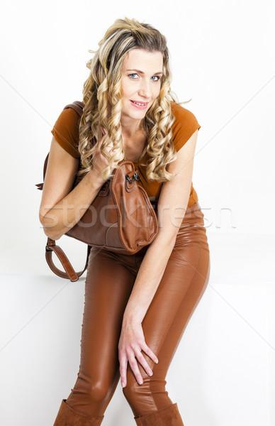 肖像 座って 女性 着用 ブラウン 服 ストックフォト © phbcz