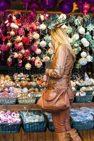 женщину Рождества рынке Вена Австрия торговых Сток-фото © phbcz