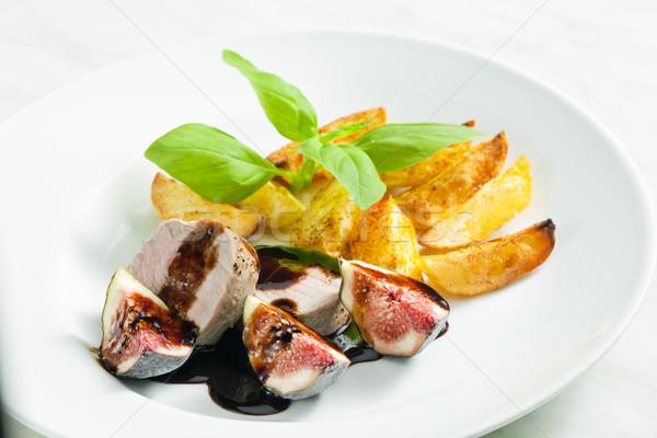 Cerdo salsa vinagre placa comida plato Foto stock © phbcz
