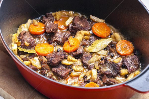 mutton meat with vegetables Stock photo © phbcz