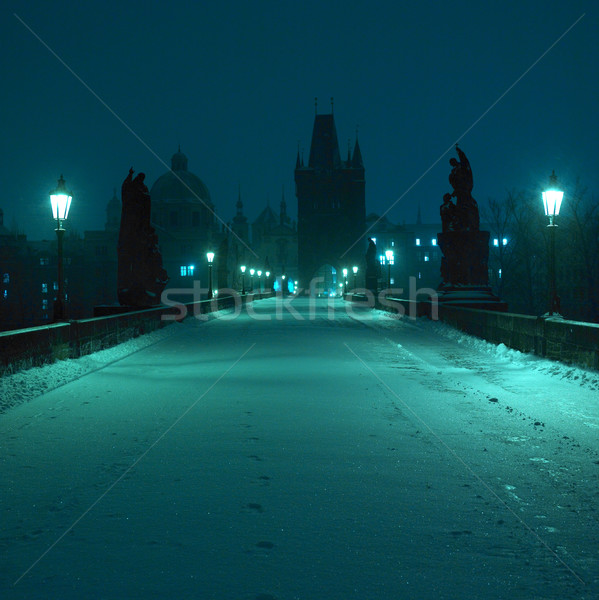 Charles bridge in winter, Prague, Czech Republic Stock photo © phbcz