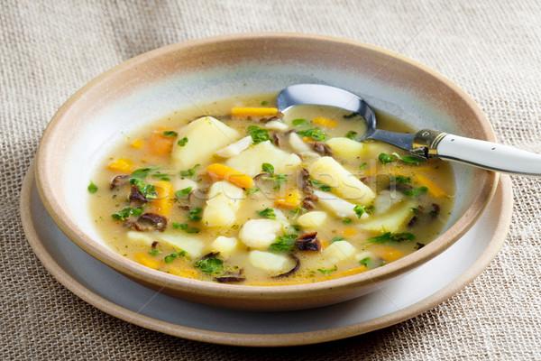 Aardappelsoep plaat groenten lepel plantaardige maaltijd Stockfoto © phbcz