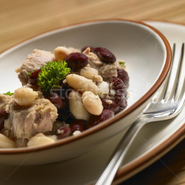 Meleg tonhal saláta bab étel egészség villa Stock fotó © phbcz