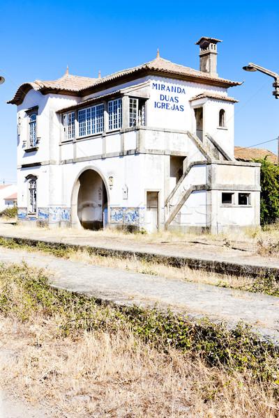 Vasútállomás Portugália építészet Stock fotó © phbcz