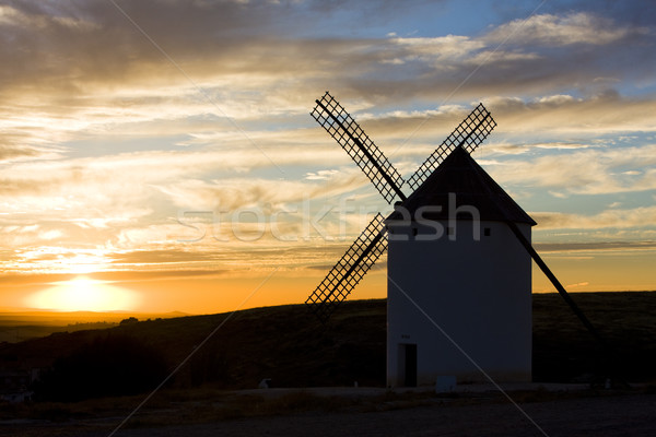 windmill at sunset, Campo de Criptana, Castile-La Mancha, Spain Stock photo © phbcz