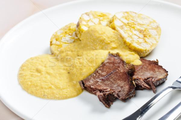 Lombo de vaca creme prato carne refeição prato Foto stock © phbcz