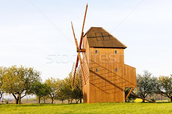 wooden windmill, Stary Poddvorov, Czech Republic Stock photo © phbcz