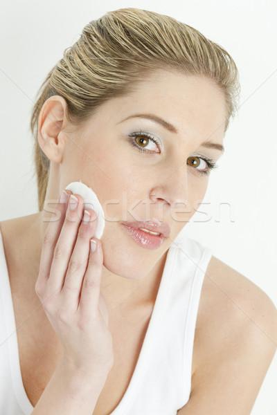 Portre genç kadın pamuk yüz kadın güzellik Stok fotoğraf © phbcz