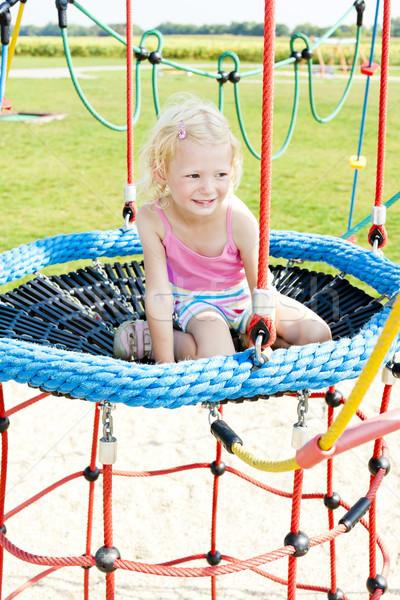 Kislány játszótér lány gyermek nyár gyerek Stock fotó © phbcz