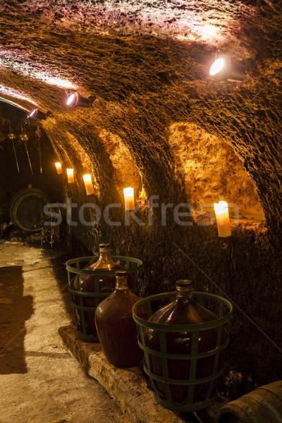 Adega vinho região Eslováquia beber vela Foto stock © phbcz