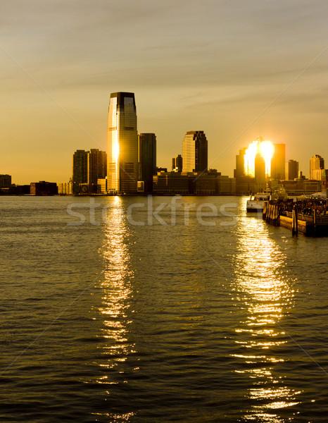 New Jersey USA stad zonsondergang reizen gebouwen Stockfoto © phbcz